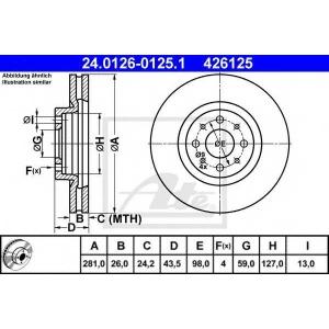 ATE 24.0126-0125.1 Тормозной диск Фиат