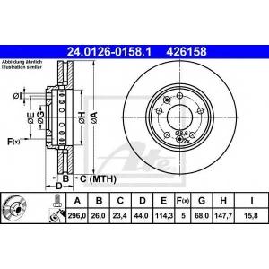 ATE 24.0126-0158.1 Тормозной диск Рено Латитуде
