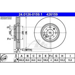 ATE 24.0126-0159.1 Тормозной диск Ситроен С4