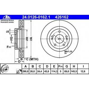 ATE 24.0126-0162.1 Тормозной диск Митсубиси Грандис