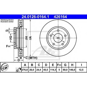 ATE 24.0126-0164.1 Тормозной диск Митсубиси Лансер Спортбек