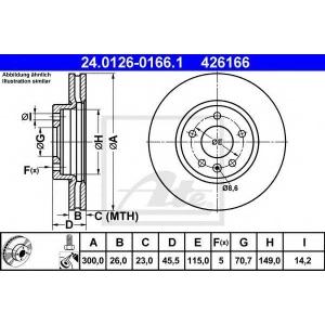 ATE 24.0126-0166.1 Тормозной диск Шевроле Круз