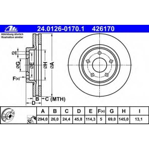 ATE 24.0126-0170.1 Тормозной диск Джип Патриот