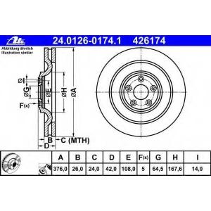 ATE 24.0126-0174.1 Тормозной диск Ягуар