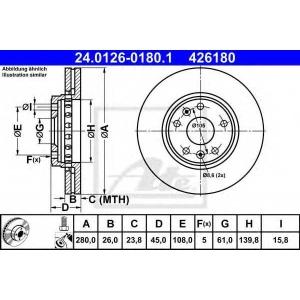 ATE 24.0126-0180.1 Тормозной диск Мерседес