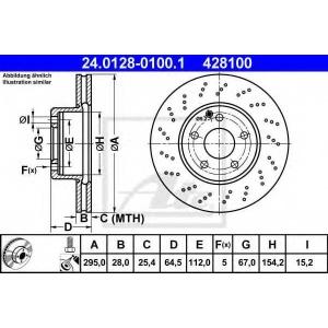 ATE 24.0128-0100.1 Тормозной диск Мерседес Ц-Класс