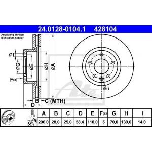 ATE 24.0128-0104.1 Тормозной диск Опель Омега