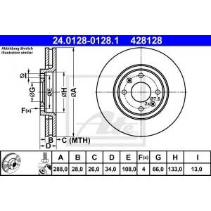 ATE 24.0128-0128.1 Тормозной диск Ситроен Ксантия
