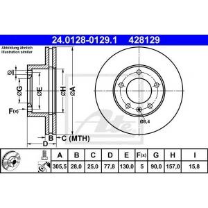 ATE 24.0128-0129.1 Тормозной диск Опель Мовано