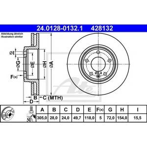 ATE 24.0128-0132.1 Тормозной диск Опель Виваро