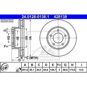 ATE 24.0128-0138.1 Тормозной диск Ягуар