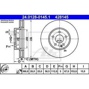 ATE 24.0128-0145.1 Тормозной диск Мерседес Виано