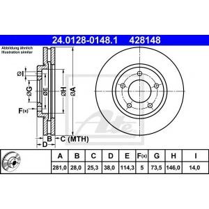ATE 24.0128-0148.1 Тормозной диск Крайслер
