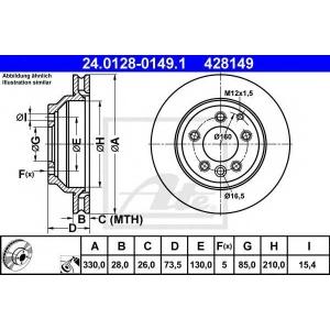 ATE 24.0128-0149.1 Тормозной диск Ауди Кью 7