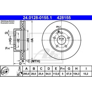 ATE 24.0128-0155.1 Тормозной диск Мерседес Ц-Класс