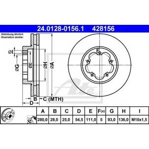 ATE 24.0128-0156.1 Тормозной диск Форд Транзит Торнео