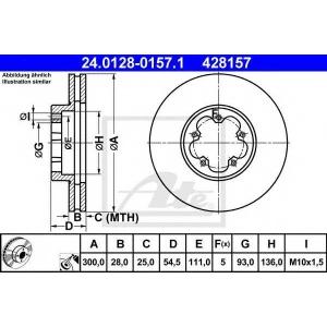 ATE 24.0128-0157.1 Тормозной диск Форд Транзит Торнео