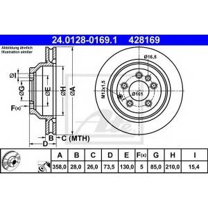 ATE 24.0128-0169.1 Тормозной диск Ауди Кью 7