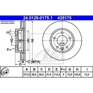 ATE 24.0128-0175.1 Тормозной диск Мазда Кседос 9
