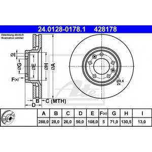 ATE 24.0128-0178.1 Тормозной диск Ситроен Хм