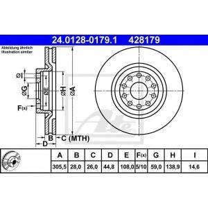 ATE 24.0128-0179.1 Тормозной диск Лансия