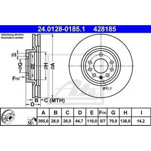 ATE 24.0128-0185.1 Тормозной диск Фиат Хрома
