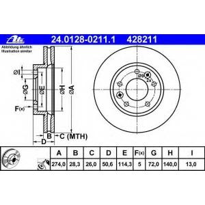 ATE 24.0128-0211.1 Тормозной диск Киа Карнивал