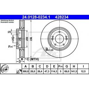 ATE 24.0128-0234.1 Тормозной диск Хюндай Ай 30