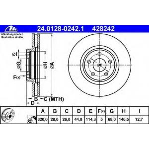ATE 24.0128-0242.1 Тормозной диск Рено Колеос