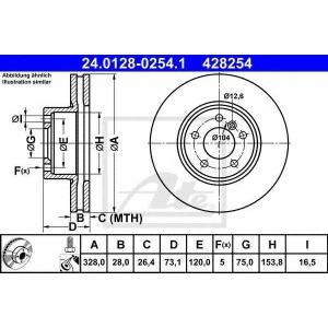 ATE 24.0128-0254.1 Тормозной диск Бмв Х3