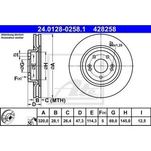 ATE 24.0128-0258.1 Тормозной диск Хюндай