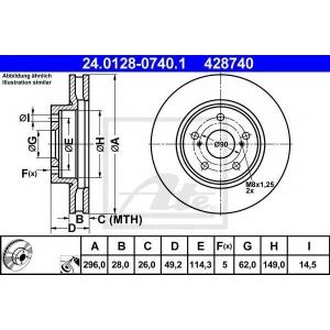 ATE 24.0128-0740.1 Тормозной диск Лексус Айс-Ес