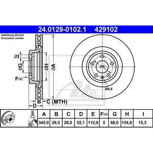 ATE 24.0129-0102.1 Тормозной диск Ауди А5 Спортбэк