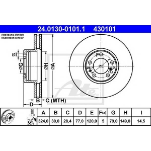 ATE 24.0130-0101.1 Тормозной диск Бмв 7