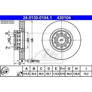 ATE 24.0130-0104.1 Тормозной диск Ауди А6