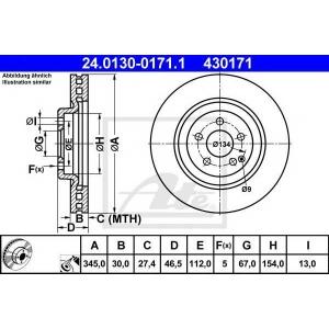 ATE 24.0130-0171.1 Тормозной диск Мерседес Цлк