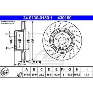 ATE 24.0130-0180.1 Тормозной диск Мерседес Слк