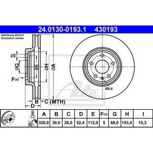 ATE 24.0130-0193.1 Тормозной диск Ауди А5 Спортбэк