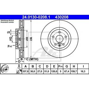 ATE 24.0130-0208.1 Тормозной диск Опель Инсигния