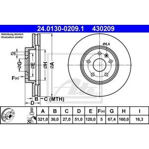 ATE 24.0130-0209.1 Тормозной диск Опель Инсигния