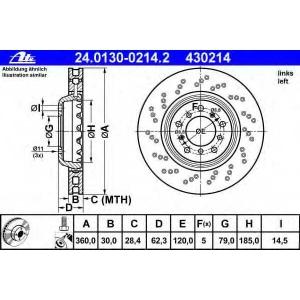ATE 24.0130-0214.2 Тормозной диск Бмв 1