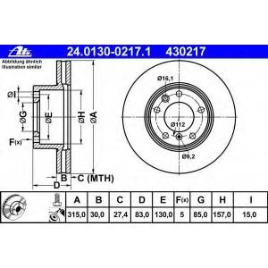 ATE 24.0130-0217.1 Тормозной диск Мерседес Джи-Класс