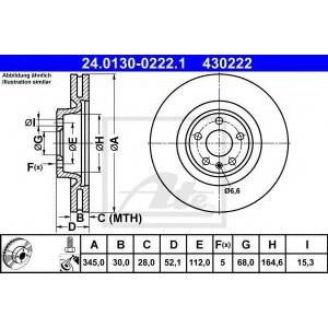 ATE 24.0130-0222.1 Тормозной диск Ауди А5
