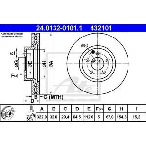 ATE 24.0132-0101.1 Тормозной диск Мерседес Ц-Класс