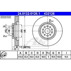 ATE 24.0132-0126.1 Тормозной диск Ситроен C8