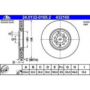ATE 24.0132-0165.2 Тормозной диск Ауди Тт
