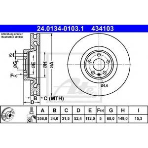 ATE 24.0134-0103.1 Тормозной диск Ауди А7 Спортбэк