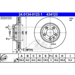 ATE 24.0134-0123.1 Тормозной диск Ауди Кью 7