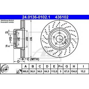 ATE 24.0136-0102.1 Тормозной диск Мерседес Слк