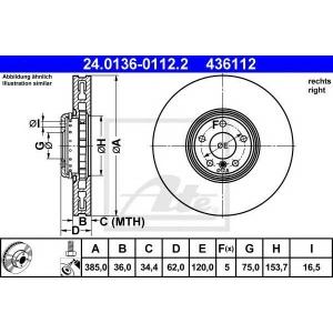 ATE 24.0136-0112.2 Тормозной диск Бмв Х5